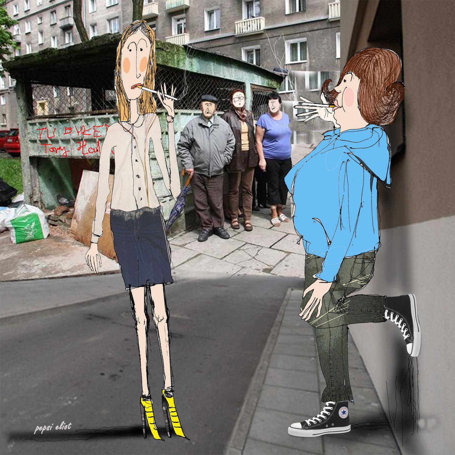 Inga i Sylwia przy śmietniku